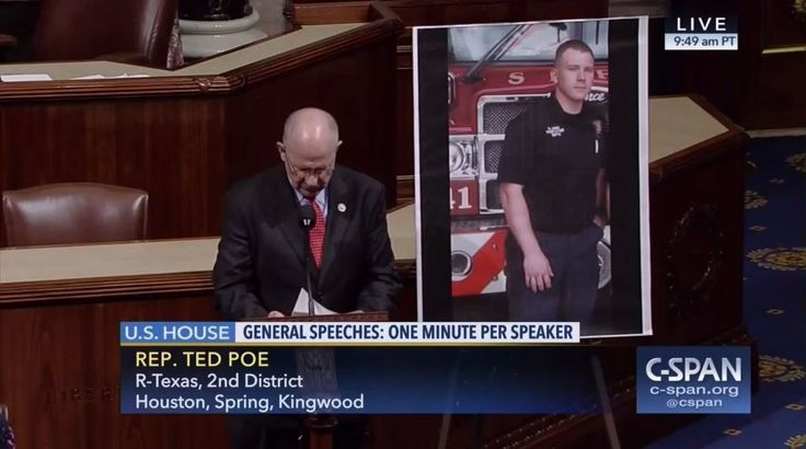 Who: Representative Ted Poe (R-Texas)  When: May 2017  What: Firefighter  Watch on C-SPAN  Read Congressional Record