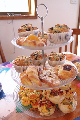 Use a cupcake tiered platter to put out some scones and muffins - it takes up less space and now you can totally justify buying something like a tiered cupcake platter... it has dual uses!