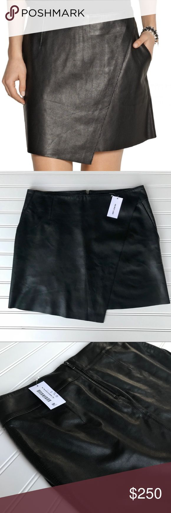 NWT Helmut Lang Lamb Leather Black Skirt Size 8 Stilt Bonded leather mini skirt. Wrap-effect front, fully lined in stretch-jersey. Zip fastening along back. 100% leather (lamb); lining: 94% polyester, 6% spandex. Specialist clean. Mini-length, sits at the hip. Supple, non-stretchy leather. Color: black Size 8 NWT  Small minor imprint on waist where hanger was, please see pictures. Helmut Lang Skirts Mini