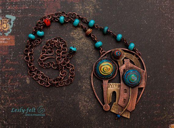 SOLD Copper brass jewelry, Blue lampwork beads, hot enamel jewelry, contemporary jewelry, long necklace, copper pendant, pendant, ooak jew