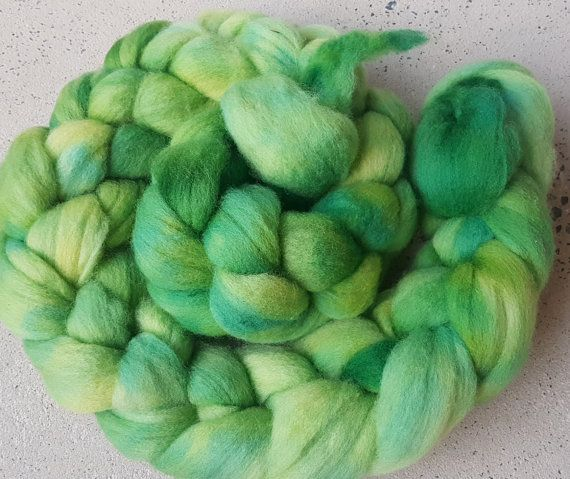 Hand dyed polwarth combed top by RidgetopFibreStudio on Etsy