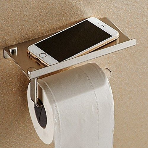 Make your toilet paper holder into a shelf to prevent accidental cell phone drownings. | 47 Insanely Clever Storage Ideas For Your Whole House