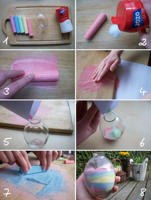 Knutselidee - zout kleuren met krijt