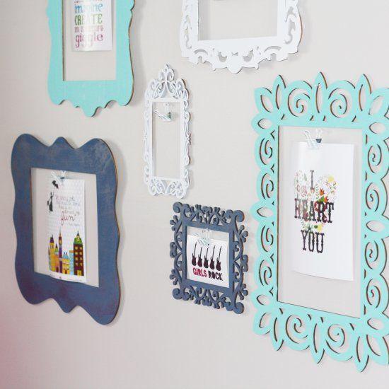 Wooden Frames Gallery Wall (Craft Gawker)                                                                                                                                                                                 Más