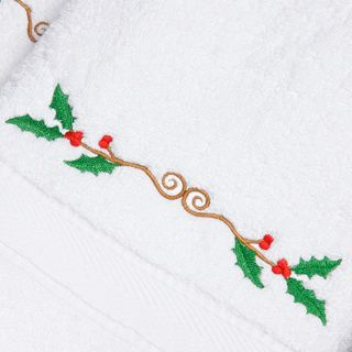 Embroidered Holly Holiday Turkish Cotton Hand Towels (Set of 2) | Overstock.com Shopping - Top Rated Bath Towels