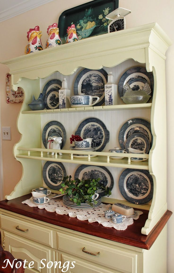 Currier And Ives Dishes In The Breakfast Room Hutch