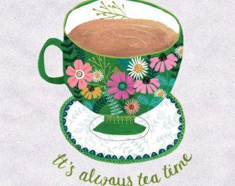 I Love Tea...Giclee print of an original by DrawnByRebeccaJones