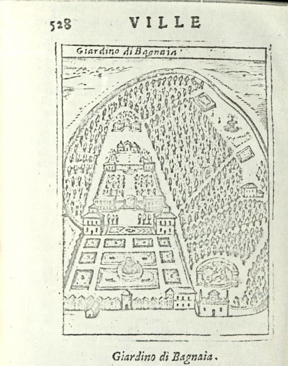 """Bagnaia (Viterbo) - Villa Lante - da """"Ritratto di Roma moderna..."""" di Pompilio Totti - Roma, 1638"""
