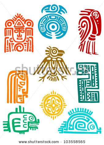 Ancient maya elements and symbols set of religious design. Vector illustration by buchan, via ShutterStock