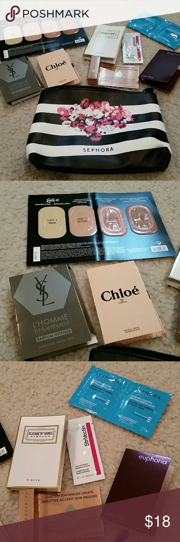 Bunch of high end makeup samples & sephora clutch A whole bunch of brand new high end make up samples and a Sephora make up clutch. All brand new. No PayPal or trades. Sephora Makeup