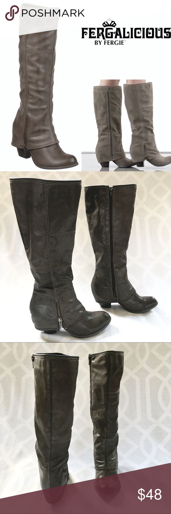 """FERGIE """"Ryder"""" Taupe Ledger Boot FERAILICIOUS BY FERGIE """"Ryder"""" Knee High Ledger Boot. Dark Taupe/Gray. Boho Western Style Riding Boot. Stacked Heel. Side Zip. Partial Zip Detail on exterior. First photo is a stock photo.   Condition: Great/preowned, some wear on sole, light scuffs on toes.   Material: Man Made  Style: L-RYDER Size: 8M Heel Height: 2 3/4in Sole Height: Single Sole Shaft: 16in Calf Opening: 16in Fergie Shoes Heeled Boots"""