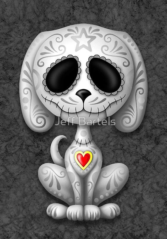 «Dark Zombie Sugar Skull Puppy Dog» de Jeff Bartels