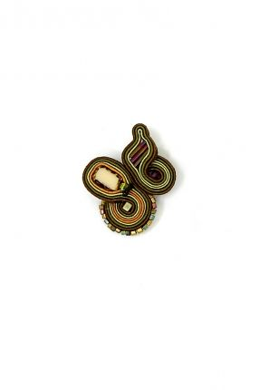 Sumatra  soutache ring with glass and crystal beads  top element length 4 cm, widest part 3.5 cm  $82