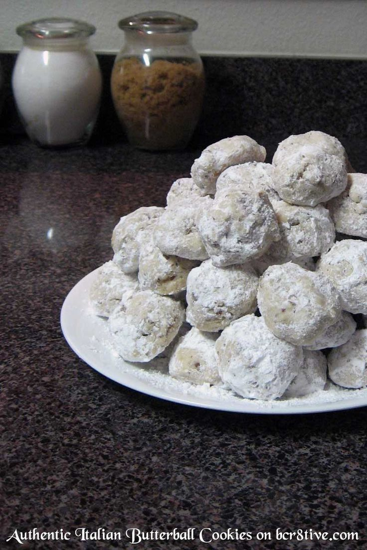 Authentic Italian Butterball Cookies I have to admit, I almost hesitated to post this recipe since it's my personal special for the holidays and I'm a little territorial about them, but then, sharing is caring and it's nice to think that perhaps you'll be nibbling on yours and think of me – and suddenly yell Thank You for telling me how to make these RIGHT bcr8tive!! emo-wink