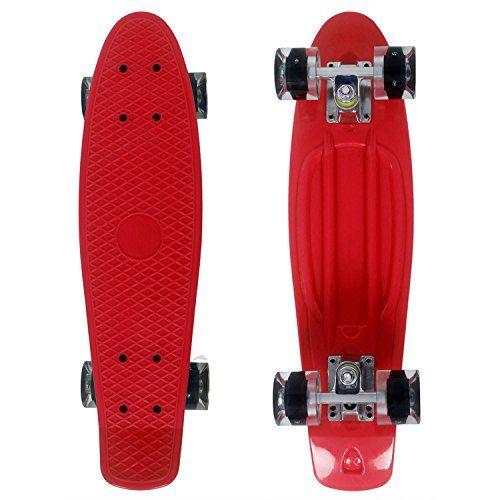 ancheer mini cruiser skateboard 55cm mit led