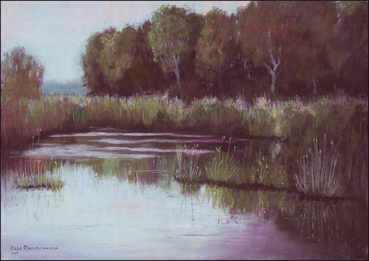 Viikki marsh after fog by Olli Malmivaara,  Watercolour and soft pastel,  30 x 40 cm