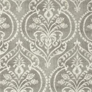 This is a gray and natural floral medallion cotton drapery fabric by Swavelle MIll Creek Fabrics, suitable for any decor in the home.  Perfect for pillows, drapes and bedding.