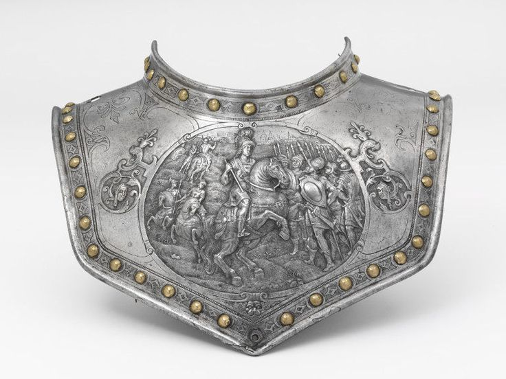 The early history of this armoured collar is unclear although it is likely it came from the French Royal Armouries. During the nineteenth century it was in the Cabinet d'Armes of the Emperor Napoleon III at the Chateau Pierrefonds, where inventories of 1865 and 1867 annotate it with the letters 'M.L.' for Musée de Louvre.