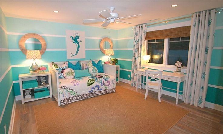 chambre enfants avec murs en nuances turquoise dégradées