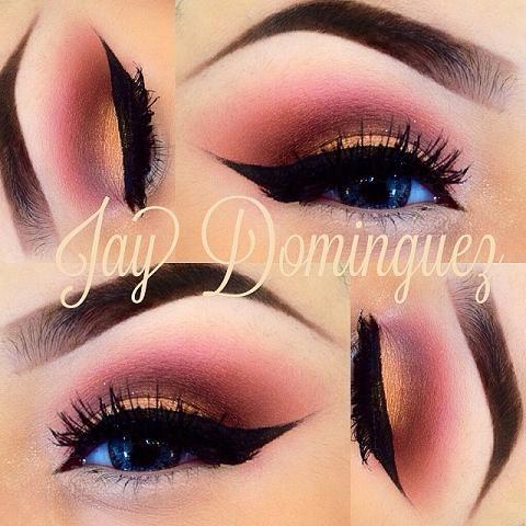 reddish marroon smokey eye with browns & gold