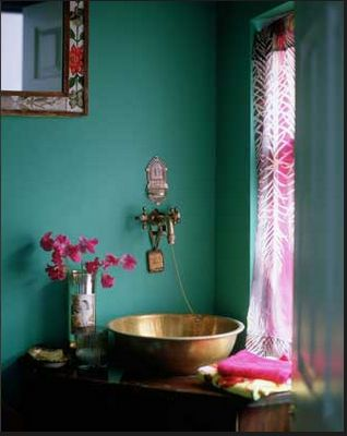 Turquoise with a splash of cerise....hhhmmmm something to think about for the new bathroom.
