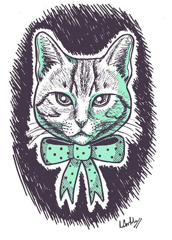 Custom Monochrome Pet Portrait! What a great thing to order as a gift. Look how dapper and handsome this cat looks in his ink and digital sketch <3