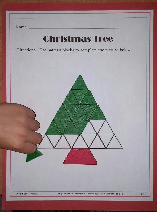 Pattern Blocks Holiday Puzzles by A Thinker's Toolbox http://www.teacherspayteachers.com/Product/Pattern-Blocks-Holidays-Puzzles-1411525