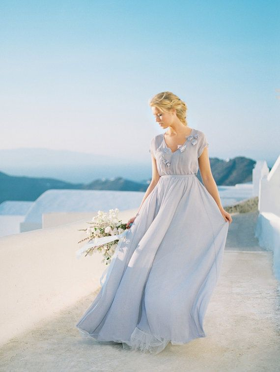 Gentle short sleevs grey wedding dress with floral / http://www.deerpearlflowers.com/unique-sophisticated-wedding-dresses-from-cathy-telle/3/