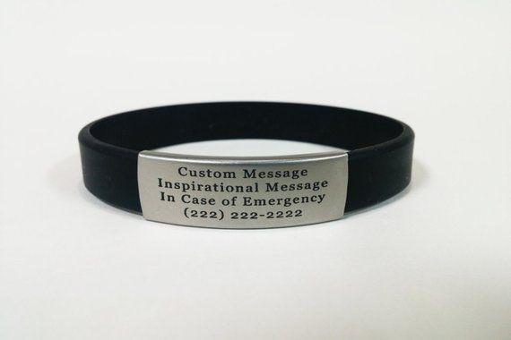 Emergency Alert Id Bracelets Safety Id With Durable Sport Band Fitness Id Bracelet Silicone Free Engraving Bracelets For Men Id Bracelets Mens Id Bracelets