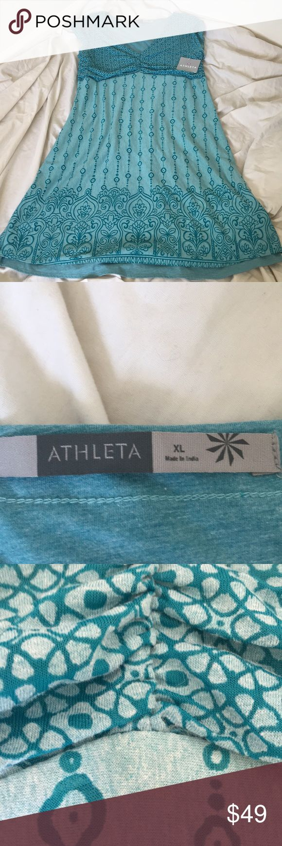 """Weekend sale!! NWT Athleta blue dress XL NWT! Blue Athleta dress XL. Bust 34"""" length 39"""". Has some stretch. First picture is stock photo Athleta Dresses"""