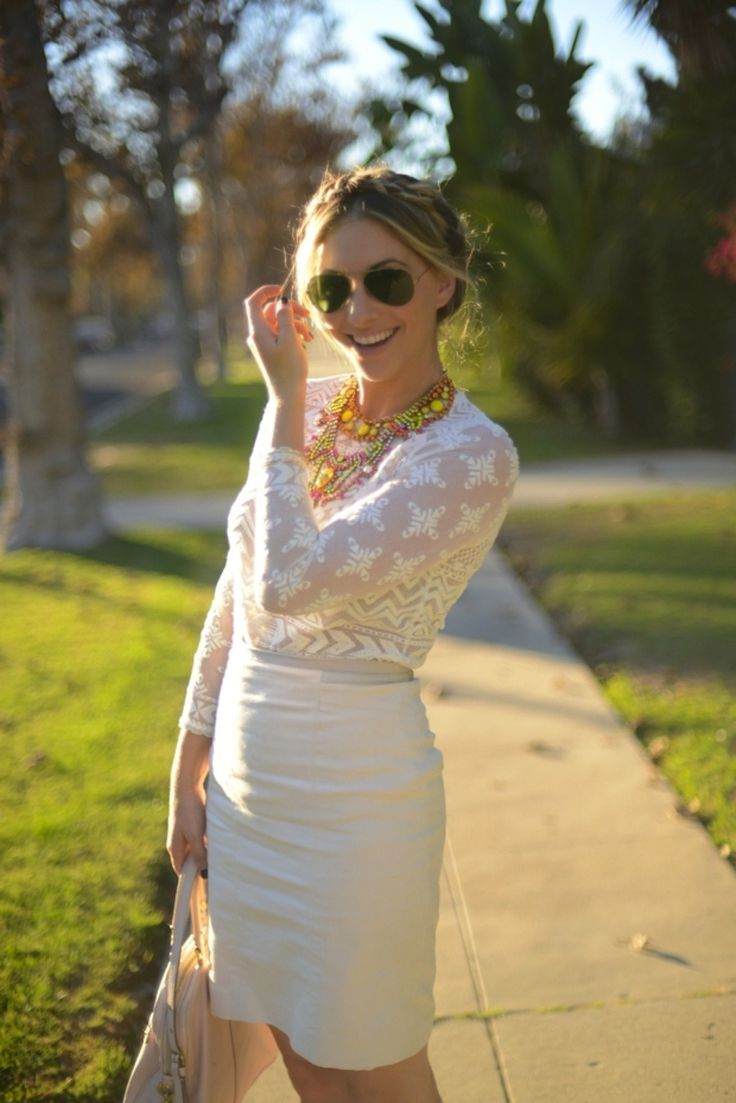 Cupcakes & Cashmere all in white.  View entire slideshow: How To Wear White All Year on http://www.stylemepretty.com/collection/554/  #white #laborday #fashion