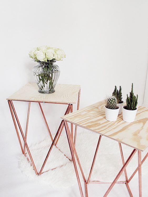 DIY-Anleitung: Beistelltisch aus Kupferrohren und Holz selber bauen via DaWanda.com