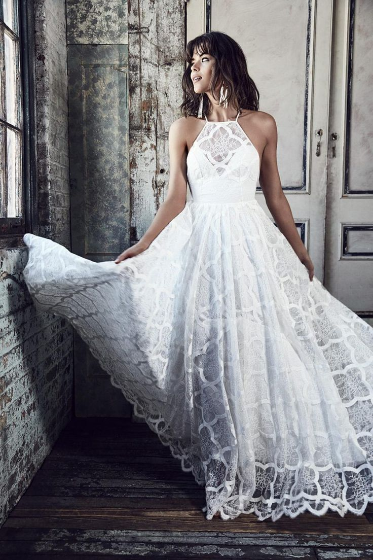lace halterneck wedding dress by Grace Loves Lace bridal 2016 - BLANC