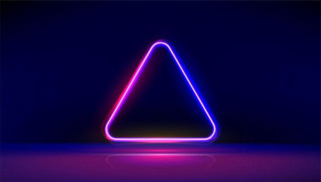 Round Corner Neon Glowing Triangle With Reflections On The Floor Modern Neon Lights Psychedelic Background With Place For Text Neon Lighting Neon Retro Light Bulbs