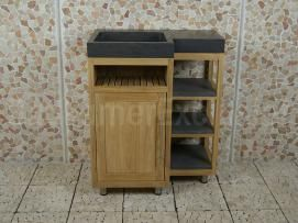 Badmeubel Kerinci Cabinet Teakhout 75 cm, deur links, bluestone
