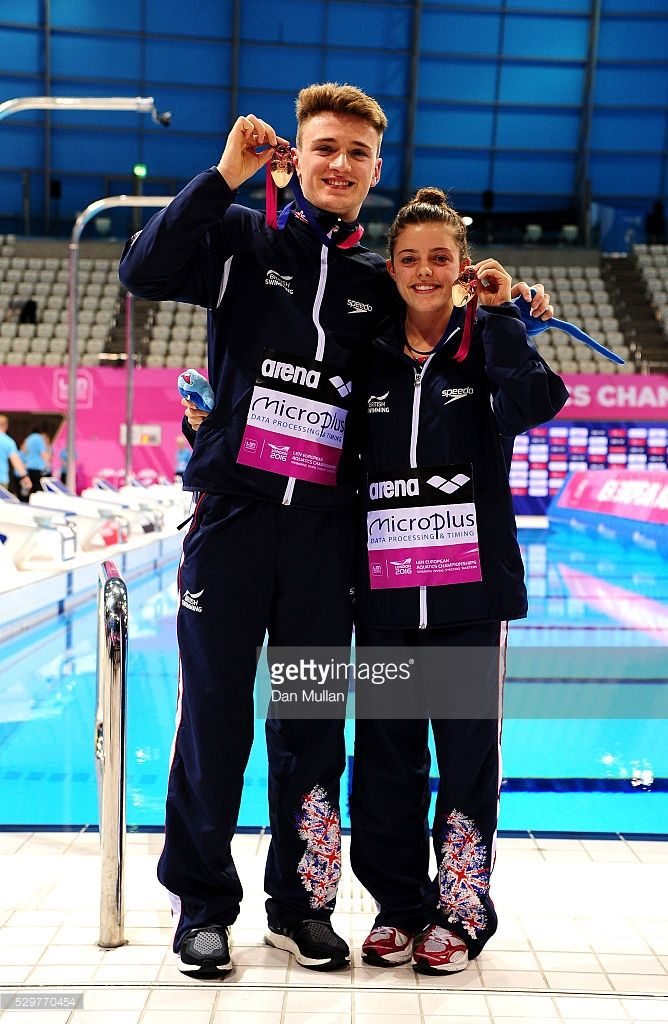 Georgia Ward (R) and Matthew Lee of Great Britain celebrate after winning the bronze medal during the Diving Team Event Final on Day One of the 2016 LEN European Swimming Championships on May 09, 2016 in London, England.