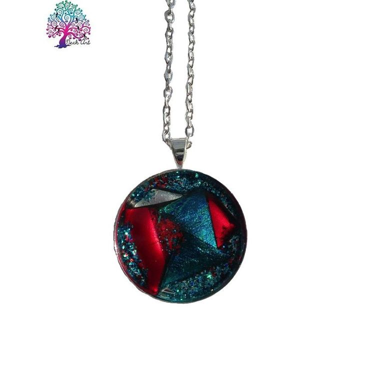 $20.00 OOAK Pendant Round Blue Red and Silver by NeckArt on Handmade Australia