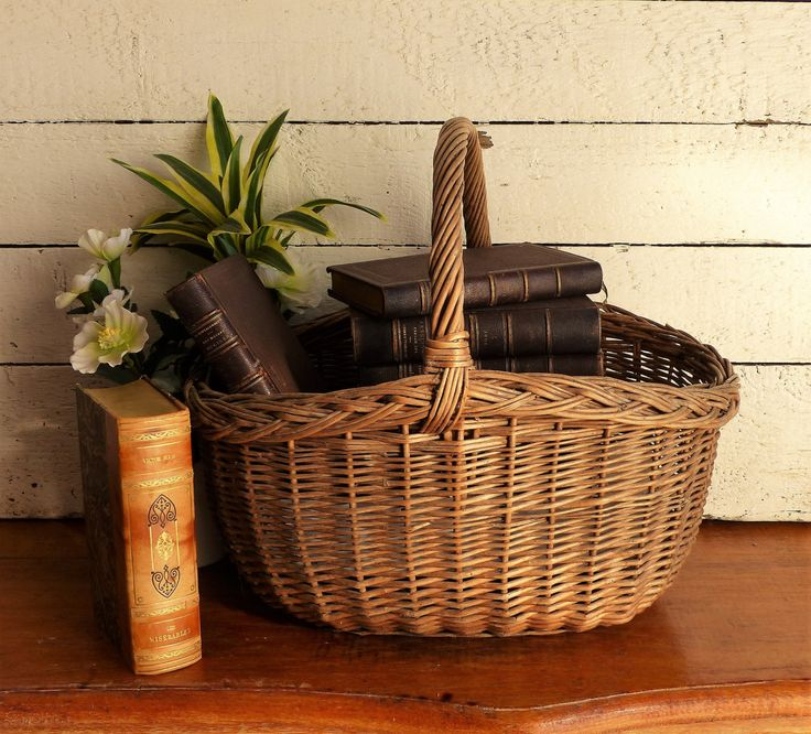 French handmade market shopping basket, vintage wicker basket for Easter. French vintage wicker basket. Market Basket. EASTER GIFT. French. by JadisInTimesPast on Etsy