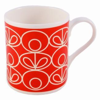 Orla Kiely Mug Red Linear Flower £8.95 - Mugs - Orla Kiely Mugs ILLUSTRATED LIVING