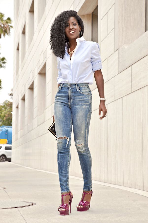 High Waist jeans. Button Down shirt http://FashionCognoscente.blogspot.com