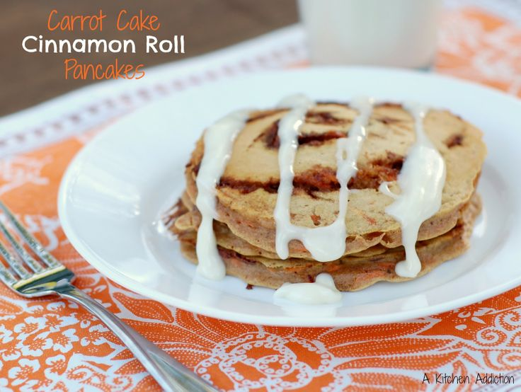 {A Kitchen Addiction} Carrot Cake Cinnamon Roll Pancakes: Carrot Cakes, Common Side, French Toast, Cinnamon Rolls Pancakes, Cakes Cinnamon, Carrots Cakes, Compromi Immune, Kitchens Addiction, Cinnamon Roll Pancakes