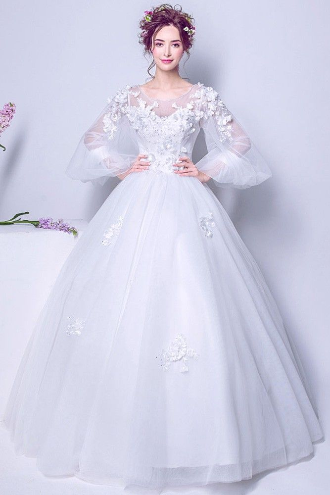 cbfc7da905a06 Buy Puffy Sleeve Long White Floral Bridal Gown For 2019 Winter ...