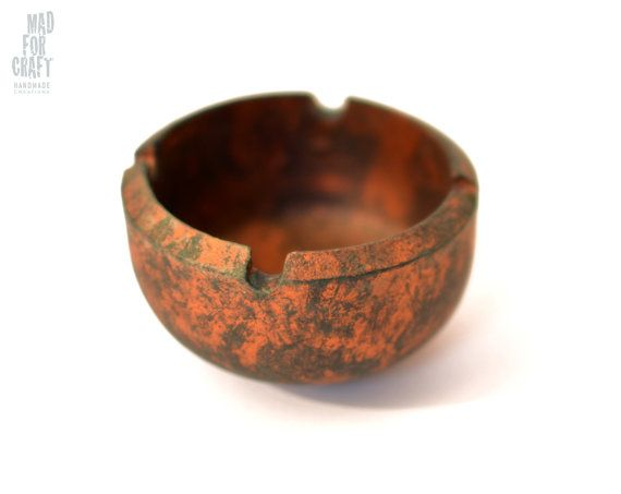Distressed Copper Industrial Design Metal Ashtray by MadForCraftGR