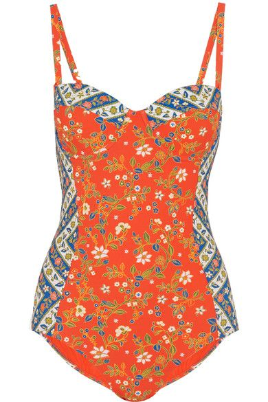 Tory Burch - Batik Floral-print Underwired Swimsuit - Papaya -