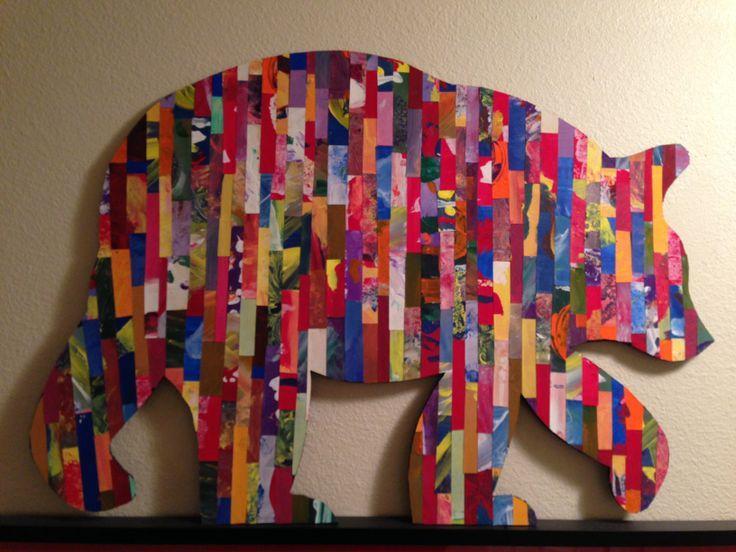 """1 сорт арт-проект, используя яркую цветную бумагу нарисовал детей, разрезать полосками и установлен на борту разреза пены в силуэт медведя. """"Первый класс это медведь"""":"""