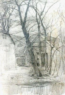 Mondriaan P.C.  Boerderij bij Duivendrecht; detailstudie van schuur en water, potlood op papier 16,7 x 11,7 cm Piet Mondriaan