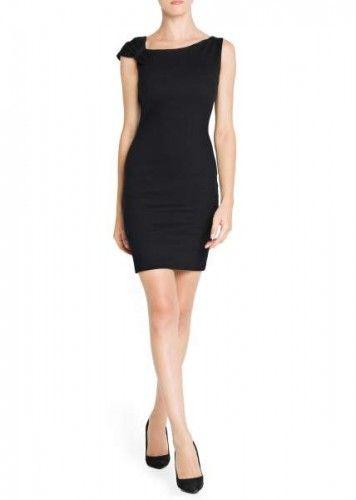 vestido negro detalle hombro mango