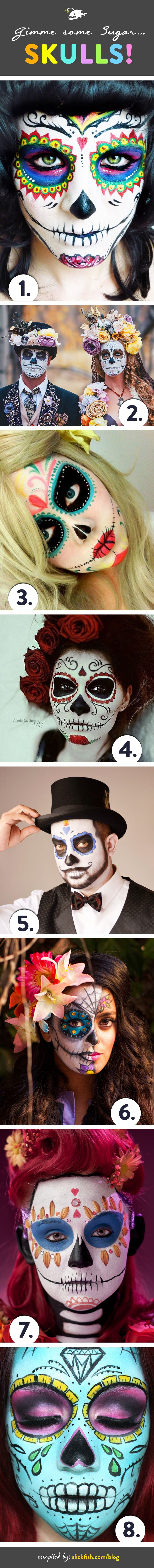 Sugar skulldesignsare a popular choice for adult face paint this Halloween. We love the look, so wegathered some of our favorites for your inspiration. | by slickfish.com