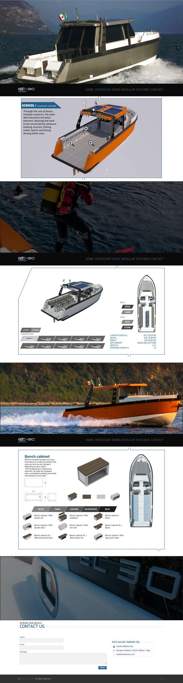 Sito web con configuratore realizzato in HTML5 per la presentazione di EcrossDiveBoat - Milano - Homepage - Realizzato con Wordpress e HTML5 - Anno 2014