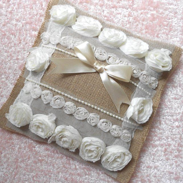 Shabby Chic Ring Cushion Pillow Hessian And Lace Folksy